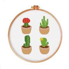Cactus cross stitch pattern modern cross stitch by ThuHaDesign