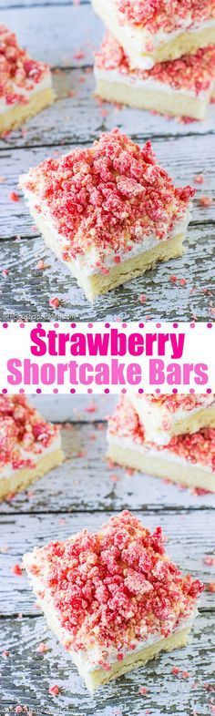 Strawberry Shortcake Bars--Delicious! Make sure to use a 9x9 pan, not 8x8....if you have to use an 8x8, cook bars for longer.