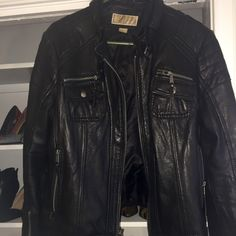 MICHAEL KORS LEATHER JACKET. MAKE AN OFFER! Xl. As shown. Like new. Press offer button please!  Size fits womans 12 id say. Michael Kors Jackets & Coats