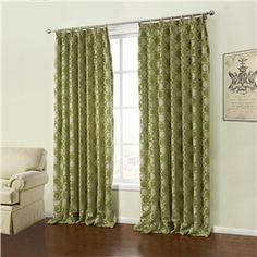 ( One Panel )  Modern Jacquard Green Geometric Pattern Chenille Room Darkening Curtains-36
