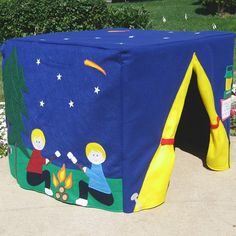 Starry Night Camp Site Card Table Playhouse, Handmade Gifts for Kids Sewing For Kids, Diy For Kids, Gifts For Kids, Card Table Playhouse, Camping Cards, Kids Tents, Play Tents, Little Campers, Table Tents