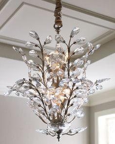 """Upside-Down Chandelier at Horchow :: The crystal-covered branches of this unique, hand-painted chandelier """"cascade"""" upwards, creating a refreshingly new sort of illumination. Imported.        Handcrafted of metal and glass crystals."""