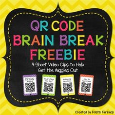 Brain Breaks Freebie: Just scan and dance! This freebie includes 4 fun and interactive video clips to get your students up and moving so they can learn and focus better. When a QR code is scanned, it takes you to a YouTube video that has been filtered through SafeShare.