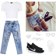 Designer Clothes, Shoes & Bags for Women Crop Top With Jeans, Ripped Jeans, Skinny Jeans, Ipad App, Diva, Crop Tops, Denim, Polyvore, Pants