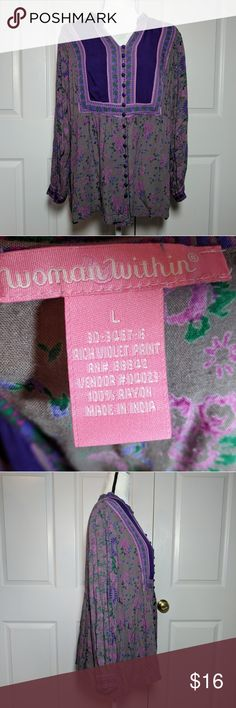 """Woman Within flowy tunic top Gorgeous & soft tunic top from Woman Within features v-neck design, satin covered buttons, and Mandarin style open collar.   Beautiful gray, purple & green color combo. See pics for materials tag. Size Large.  Chest: 18.5"""" Length: 26"""" Woman Within Tops Tunics"""