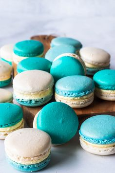 French Vanilla Macarons filled with French Vanilla Buttercream. Delicate and not overly sweet Vanilla Macaron Recipes, Vanilla Macarons, French Buttercream, Vanilla Buttercream, Macroons Recipe, Macroon Cake, Macaron Filling, Rhubarb Cake, Vanilla Paste