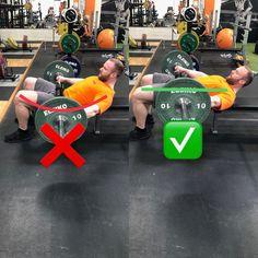 Links wird die Hüfte nicht komplett gestreckt. Der Unterkörper bildet mit dem Oberkörper sozusagen einen Bogen! Es kommt somit zu keiner optimalen Reizsetzung im Muskel. Rechts wird die Hüfte komplett gestreckt. Der Unterkörper bildet mit dem Oberkörper eine gerade Linie! Dadurch wird ein optimaler Reiz im Muskel gesetzt!