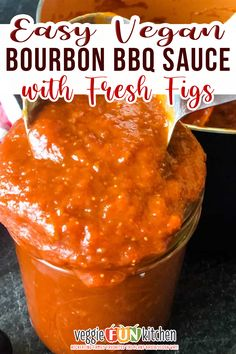 A rich bourbon flavor, balanced by the subtle sweetness of figs, this bourbon bbq sauce is easy to make at home. This sweet and spicy barbeque sauce works great as a dipping sauce, a marinade, or a glaze you can grill with. Made with bourbon whiskey, tomato sauce, brown sugar, some seasonings and spices, and of course the fresh figs, this rich and delicious easy homemade bourbon BBQ sauce is one of a kind! | veggie fun Kitchen @veggiefunkitchen #veganbbqsauce #vegangrilling #veggiefunkitchen Vegan Bbq Recipes, Quick Vegan Meals, Fig Recipes, Vegan Meal Prep, Grilling Recipes, Whole Food Recipes, Cooking Recipes, Summer Recipes, Vegan Bbq Sauce