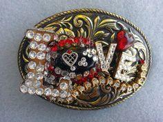 Western belt buckle, Women's, Love, Swarovski crystal, Vintage rhinestone, Boho,  Free shipping, Christmas gift for her