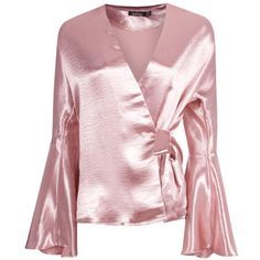 Boohoo Alice Satin Wrap Over Flute Sleeve Blouse | Boohoo ($30) ❤ liked on Polyvore featuring tops, blouses, sequin bodysuits, sequin crop top, pink satin blouse, off shoulder crop top and long-sleeve crop tops
