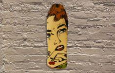 Jason Rowland aka R6D4 -stencil, aerosol, food coloring, wood  #jasonrowland #r6d4 #galerief #streetart #skateboard #vintageskateboard