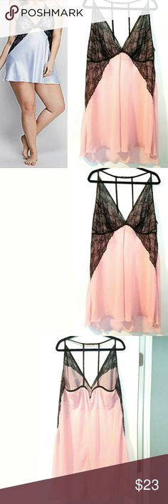 Lane Bryant 26/28 Cacique Black Lace Trim Chemise This Lane Bryant 26/28 Cacique Pink Chiffon & Black Lace Trim Chemise is in great used condition. No stretch. Semisheer. Lane Bryant Intimates & Sleepwear Chemises & Slips