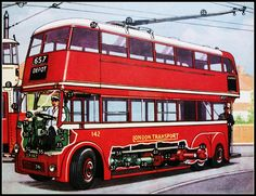 London transport Trolleybus cutaway drawing postcard. by Ledlon89, via Flickr