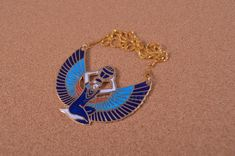 Ankh Necklace, Brass Necklace, Collar Necklace, Queen Cleopatra, Egypt Culture, Egyptian Queen, Crown Headband, Wings, Enamel