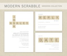 Wedding Invitations: Modern Scrabble Wedding Invitation by elsiej Creative Wedding Invitations, Wedding Invitation Inspiration, Printable Wedding Invitations, Wedding Invitation Design, Wedding Stationary, Wedding Inspiration, Invitation Cards, Wedding Pins, Wedding Images