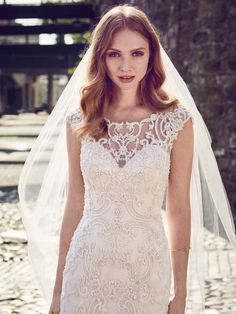 Maggie Sottero Everly - This elegant fit-and-flare wedding dress features a tulle overlay of beaded lace motifs, creating an illusion bateau over sweetheart neckline, illusion cap-sleeves, illusion scoop back, and beautiful scallop hemline. Making A Wedding Dress, Wedding Dress Sizes, Wedding Dress Shopping, Wedding Bridesmaid Dresses, Plus Size Wedding, Designer Wedding Dresses, Bridal Dresses, Wedding Gowns, Lace Wedding