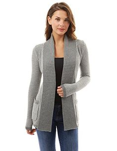 PattyBoutik Women's Open Front Marled Sweater Cardigan (Gray and White L)