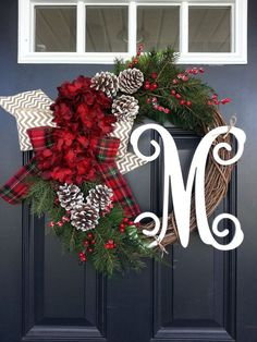 Christmas Wreath, Hydrangea Wreath, Monogram Wreath, Winter Wreath, Snowy Pine Wreath, Front Door Wreath, Red Hydrangea, Christmas Decor