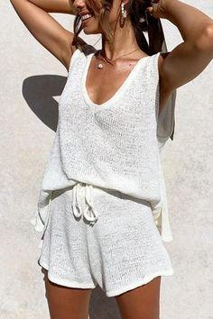 V Neck Sleeveless Tank Shorts Set – Jartini blouses shirts style blouses designs blouses for women casual women tops shirt blouse Cute Summer Outfits, Trendy Outfits, Cute Outfits, Fashion Outfits, Fashion Tips, Outfit Summer, Summer Dresses, Comfortable Summer Outfits, Casual Beach Outfit