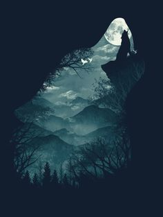 wolf nature forest werewolf trees mountains illustrations artsy Animals