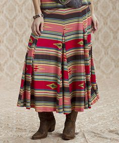 Look what I found on #zulily! Red & Tan Southwest Stripe Maxi Skirt - Women by Rancho Estancia #zulilyfinds