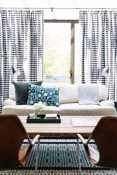 House Envy: Modern Romance | lark&linen | Stunning living room in navy, camel and gray