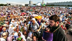 Belarussian Orthodox believers attend the solemn liturgy in Minsk, on Monday, to mark the 1,025th anniversary of the Baptism of Russia, whic...