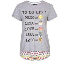 TopShop Emoticons to Do List Pj Set (355 UYU) ❤ liked on Polyvore featuring intimates, sleepwear, pajamas, cotton jersey, cotton sleepwear, topshop pyjamas, cotton pajamas and cotton pyjamas