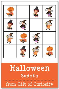 Free Halloween Sudoku printables! 3 kid-friendly Halloween Sudoku puzzles that will give your children's problem solving skills a Halloween workout! #Halloween #sudoku #freeprintables || Gift of Curiosity