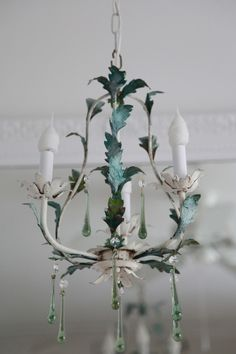Shabby Chic Old French Tole Chandelier...Green Drops