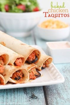 Baked Chicken Taquitos - yummy baked rolled tacos that are cooked in under 30 minutes!
