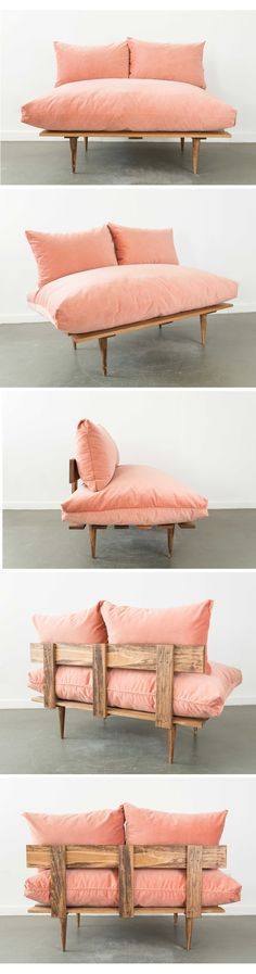 These bad boys were made in house, designed by our Corrin! They come in other colors with more on the way! Tiny Living Rooms, My Living Room, Home And Living, Teak Outdoor Furniture, Diy Furniture, Furniture Design, Plywood Projects, Fluffy Cushions, Pink Velvet