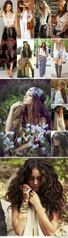 Had to pin b/c ladys hair in bottom pic looks like mine. :) Bohemian Style...