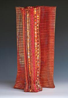 Frances Solar | FSolar-Vessel 6. Loom woven, copper wire, heat patina.