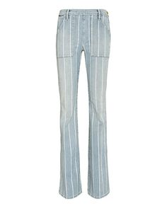 FRAME Le Flare De Francoise: Barrington: This season has an invasion of flare leg silhouettes. Deep frontal pockets and two patch pockets at rear. Side zipper/button closure. In denim stripes.   Fabric: 92.5% cotton/6% polyester/1.5% elastane   Made in USA. Model Measurements: Height 5'8.5 ; ...