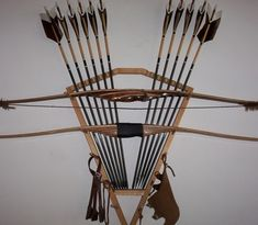Bow and arrow storage Traditional Bow, Traditional Archery, Bushcraft, Bow Rack, Shooting Sticks, Archery Tips, Barrel Projects, Recurve Bows, Custom Bows