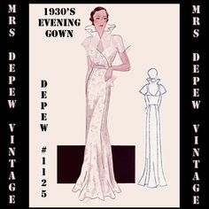 Vintage Sewing Pattern 1930's Evening or Wedding Gown in Any Size Depew 1125 - PLUS Size Included -INSTANT DOWNLOAD-