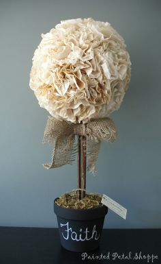 Topiary Coffee Filter Topiary w/ Chalkboard Pot/ by PaintedPetalShoppe - Coffee Filter Projects, Coffee Filter Art, Coffee Filter Wreath, Coffee Filter Crafts, Coffee Filter Flowers, Coffee Filters, Paper Flowers Diy, Fake Flowers, Crafts To Make