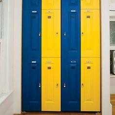 sports themed room lockers For my boys closet doors Boys Closet, Closet Bedroom, Kids Bedroom, Teen Bedrooms, Closet Doors Painted, Folding Closet Doors, Kids Wall Decor, Boys Room Decor, Boy Room