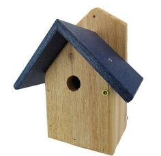 Nature Products USA Chickadee House, Blue Recycled Poly Lumber Roof, Wren-4B