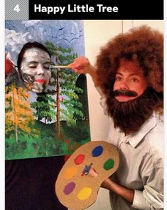 Make Bob Ross costume yourself maskerix.de - Make Bob Ross costume yourself Costume idea for Carnival, Halloween & Mardi Gras 1 Best 80s Costumes, Funny Group Costumes, Meme Costume, Funniest Costumes, Hilarious Couples Costumes, Pair Costumes, Family Costumes, Awesome Couple Costumes, 2 People Costumes