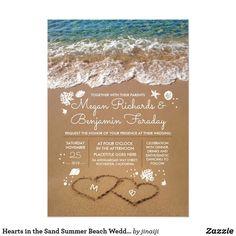 beach wedding invitations Hearts in the Sand Summer Beach Wedding Invitation Wedding Sand, Beach Wedding Reception, Lilac Wedding, Seaside Wedding, Beach Wedding Decorations, Dream Wedding, Luxury Wedding, Wedding Venues, Spring Wedding
