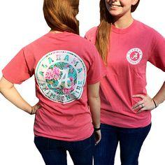 Alabama Crimson Tide Preppy Floral Logo Comfort Colors T-Shirt
