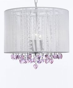 Take a look at this White & Pink Heart Crystal Shade Chandelier on zulily today!