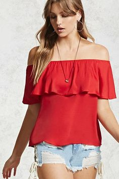 ¡Cómpralo ya!. Off-the-Shoulder Flounce Top. DetailsA semi-cropped satin top featuring an elasticized off-the-shoulder neckline, a flounce layer, short sleeves, and a flowy silhouette.Content + Care- 100% polyester- Hand wash cold- Made in ChinaSize + Fit- Model is 5'9%22 and wearing a Small- Full length: 18%22- Chest: 34%22- Waist: 38%22- Sleeve length: 7%22 , topcorto, croptops, croptop, croptops, croptop, topcrop, topscrops, cropped, topbailarina, corto, camisolacorta, crop…