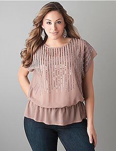 1f35fc5cfd563 Elastic waist sequin top by Lane Bryant Curvy Women Outfits