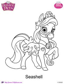Seashell coloring page | Disney's Princess Palace Pets Free Coloring Pages and Printables | SKGaleana