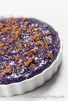 "Ube kalamay is a type of Filipino ""kakanin"" (also referred to as rice cake). It made from grated purple yam, which is known as ""ube"" in the Philippines."