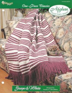 Crochê lListra da Herança Criações Afegão Padrão -  /   Crochet Stripe Heirloom Afghan Pattern Creations -