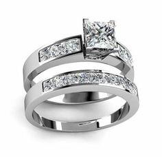 1.80Ct. Princess Cut Diamond Engagement Ring Set (Bridal Set) – Goldia.com